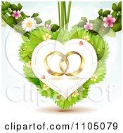 Clipart Gold Wedding Rings In A Heart On Leaves With Blossoms Royalty Free Vector Illustration by merlinul