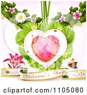 Valentines Banner With A Lily And Butterfly Under A Dewy Pink Heart With Ladybugs Leaves And Blossoms