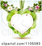 Clipart Heart Frame With Ladybugs Over Strawberry Leaves With Blossoms Royalty Free Vector Illustration