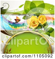 Green Leaf Background A Butterfly Rainbow Roses And Copyspace