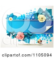 Orange Butterfly With Roses And A Blue Frame With Dots