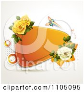 Orange Triangle Frame With Roses And A Colorful Butterfly On Dots