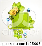 Blue Butterfly With A Square Frame Leaves And Roses