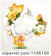 Colorful Butterfly With Roses Orange Leaves And Dots