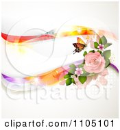 Butterfly With Pink Roses Dots And Colorful Waves