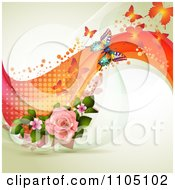 Butterflies With Pink Roses Dots And Waves