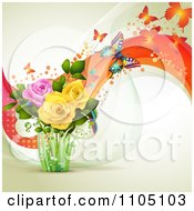 Clipart Butterflies With Roses Dots And Waves Royalty Free Vector Illustration