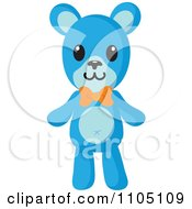 Clipart Happy Blue Teddy Bear With An Orange Bow Royalty Free Vector Illustration