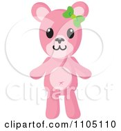 Clipart Happy Pink Teddy Bear With A Green Bow Royalty Free Vector Illustration