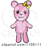 Clipart Happy Pink Teddy Bear With A Yellow Bow Royalty Free Vector Illustration