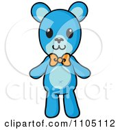 Clipart Blue Teddy Bear With An Orange Bow Royalty Free Vector Illustration