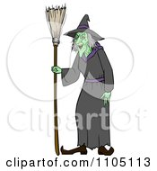 Clipart Bad Green Witch With A Broom Royalty Free Vector Illustration