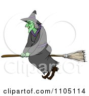 Clipart Bad Green Witch Flying On A Broomstick Royalty Free Vector Illustration