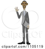 Clipart Caricature Of Barack Obama Standing And Waving Royalty Free Vector Illustration