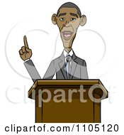 Clipart Caricature Of Barack Obama Speaking At A Podium Royalty Free Vector Illustration by Cartoon Solutions #COLLC1105120-0176