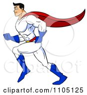 Clipart Strong Super Hero Man Running In Profile Royalty Free Vector Illustration by Cartoon Solutions