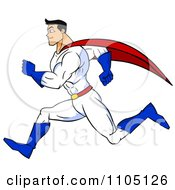 Clipart Strong Super Hero Man Sprinting In Profile Royalty Free Vector Illustration by Cartoon Solutions