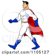 Clipart Strong Super Hero Man Walking In Profile Royalty Free Vector Illustration by Cartoon Solutions