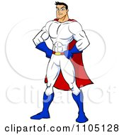 Clipart Strong Super Hero Man With His Hands On His Hips Royalty Free Vector Illustration by Cartoon Solutions #COLLC1105128-0176