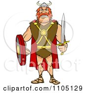 Clipart Tough Viking Warrior With A Sword And Shield Royalty Free Vector Illustration