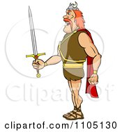 Clipart Tough Viking Warrior In Profile With A Sword Royalty Free Vector Illustration by Cartoon Solutions