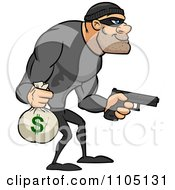 Clipart Buff Bank Robber Carrying A Money Bag And Pistol Royalty Free Vector Illustration