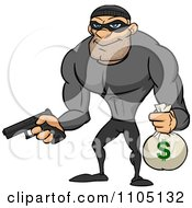 Clipart Buff Bank Robber Holding A Money Bag And Pistol Royalty Free Vector Illustration