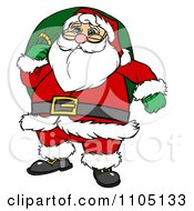 Clipart Santa Carrying A Green Sack - Royalty Free Vector Illustration by Cartoon Solutions #COLLC1105133-0176