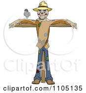 Clipart Happy Scarecrow With A Bird On His Arm Royalty Free Vector Illustration