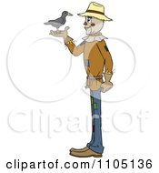 Clipart Happy Scarecrow Talking To A Bird Royalty Free Vector Illustration