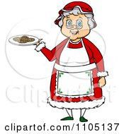 Clipart Happy Mrs Claus Holding A Plate Of Cookies Royalty Free Vector Illustration by Cartoon Solutions #COLLC1105137-0176