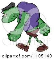 Clipart Frankenstein Walking In Profile Royalty Free Vector Illustration by Cartoon Solutions