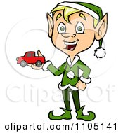 Clipart Happy Male Christmas Elf Holding A Toy Car Royalty Free Vector Illustration by Cartoon Solutions