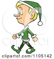 Clipart Happy Male Christmas Elf Walking Royalty Free Vector Illustration by Cartoon Solutions
