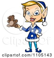 Clipart Happy Female Christmas Elf Holding A Teddy Bear Royalty Free Vector Illustration by Cartoon Solutions