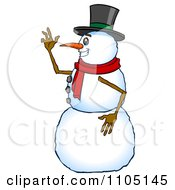 Clipart Happy Snowman In Profile Smiling And Waving Royalty Free Vector Illustration