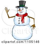 Clipart Happy Snowman Smiling And Waving Royalty Free Vector Illustration
