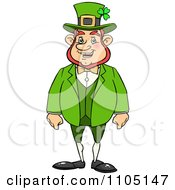 Clipart Happy Chubby St Patricks Day Leprechaun Royalty Free Vector Illustration