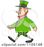 Clipart Happy Chubby St Patricks Day Leprechaun Walking Royalty Free Vector Illustration
