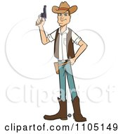Clipart Wild West Cowboy Holding A Revolver Royalty Free Vector Illustration