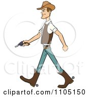 Clipart Wild West Cowboy Walking With A Revolver Royalty Free Vector Illustration by Cartoon Solutions