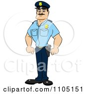 Clipart Strong Police Man Standing Royalty Free Vector Illustration