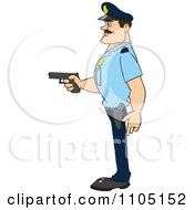 Clipart Strong Police Man In Profile Holding A Gun Royalty Free Vector Illustration