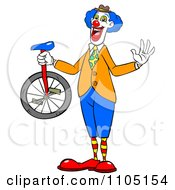 Clipart Happy Entertainer Clown Holding A Unicycle Royalty Free Vector Illustration