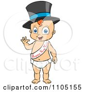 Clipart Happy Baby Standing Waving And Wearing A Top Hat And New Year Sash Royalty Free Vector Illustration by Cartoon Solutions
