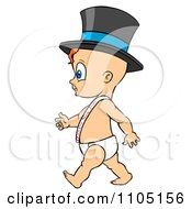 Clipart Baby Walking Upright And Wearing A Top Hat And Happy New Year Sash Royalty Free Vector Illustration by Cartoon Solutions