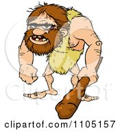 Clipart Hairy Caveman Holding A Club Royalty Free Vector Illustration