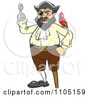 Clipart Chubby Male Pirate With A Parrot Peg Leg And Hook Hand Royalty Free Vector Illustration