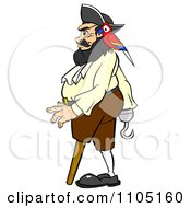 Clipart Chubby Male Pirate Walking With A Parrot Peg Leg And Hook Hand Royalty Free Vector Illustration