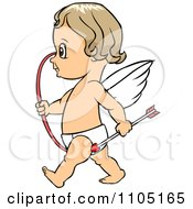 Clipart Happy Cupid Walking With A Bow And Arrow Royalty Free Vector Illustration